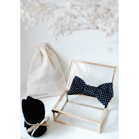 Noeud papillon noir plumetis blancs Roméo