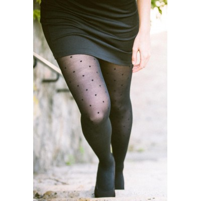 Black dots Bonjour Paris support Pantyhose