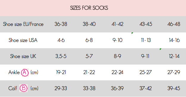 sizes and measures socks