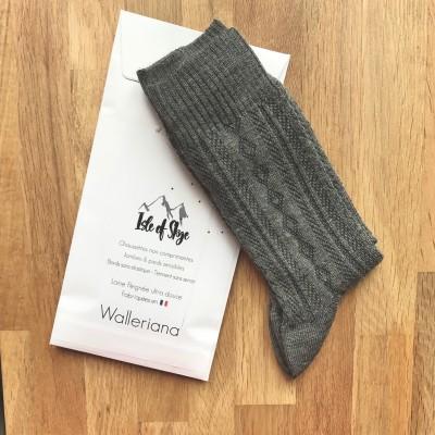 Skye, chaussettes laine peignée gris chiné, pieds sensibles
