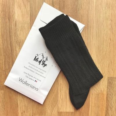 Skye, chaussettes laine peignée noire, pieds sensibles