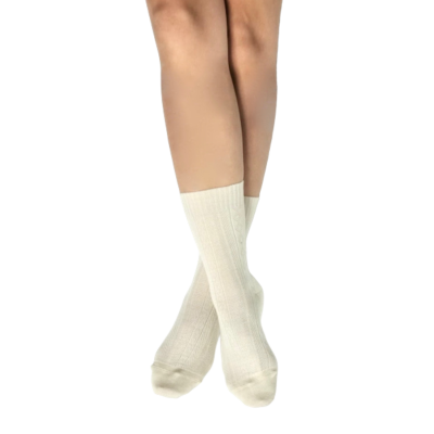 Chaussettes pieds & mollets sensibles - Skye - laine peignée Ecru