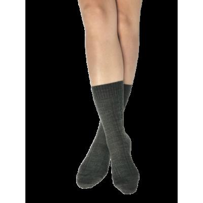 Chaussettes pieds & mollets sensibles - Skye - laine peignée Gris chiné