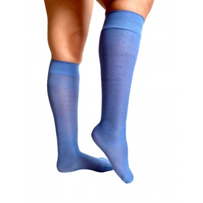 Moderate compression knee-high - light blue sky dots