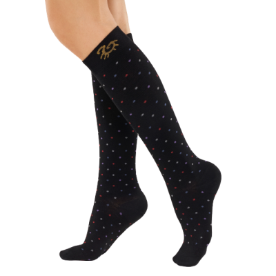 Solidea Bamboo socks for flight travel - black with dots