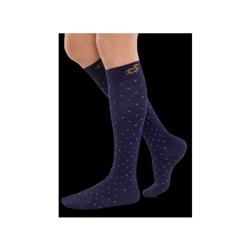 Chaussettes pour l'avion Solidea - compression modérée - bleu marine à pois