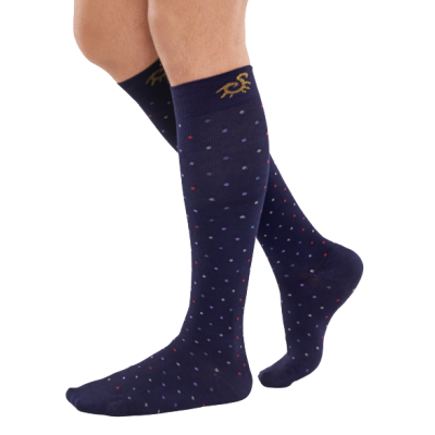 Solidea Bamboo compression socks- navy with dots