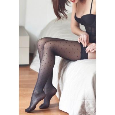Bas jambes légères plumetis carrés Paris je t'aime