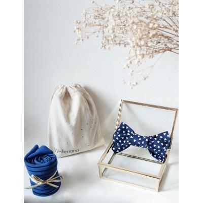 Kit Saint Barth, chaussettes bien-être bleues + noeud papillon bleu assorti
