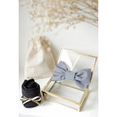 Kit London stylish grey support socks + matching bow tie