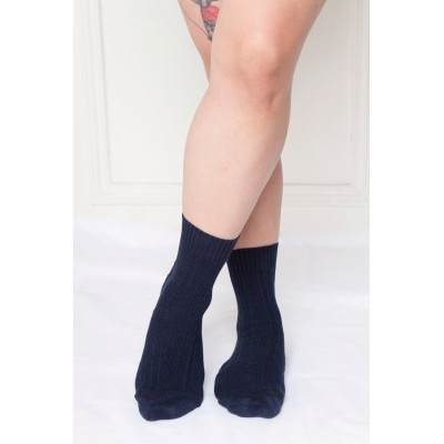 Itasca, non-elasticated women socks for sensitive legs, marine blue & Inca pattern