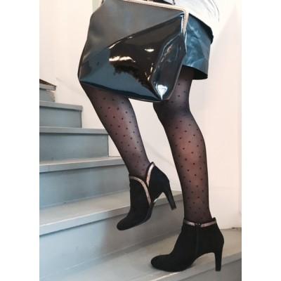Collants jambes légères plumetis carrés Paris je t'aime
