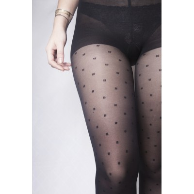 Moderate compression tights - black polka square - Paris je t'aime