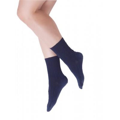 Chaussettes pieds & mollets sensibles - Itasca - coton fil d'Ecosse marine motif