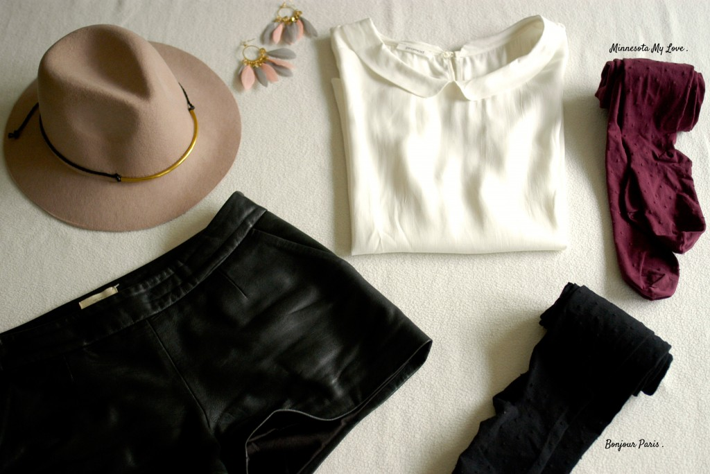 Un look de mi-saison : chapeau, collants, short en cuir, petite chemise, collants bien-être pour une journée bien dans ses baskets ! (collants de contention jolis)