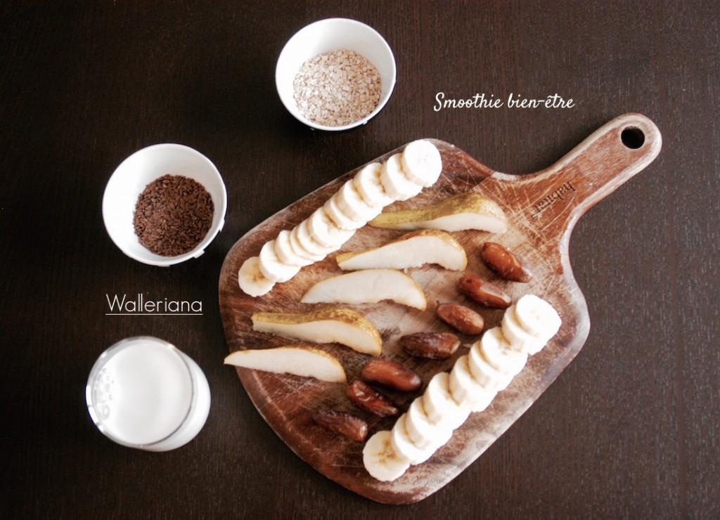 smoothie poire banane dattes au lait d'amandes