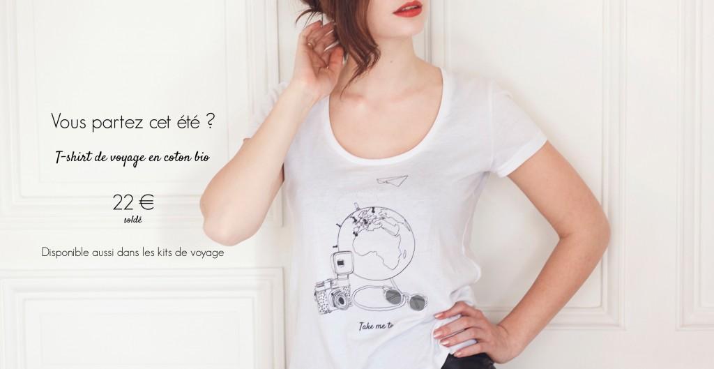 t-shirt baroudeuse en coton bio vendu dans les kits de voyage, voyage et circulation sanguine