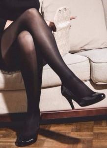 gambettes unies - collants de contention noirs sexy