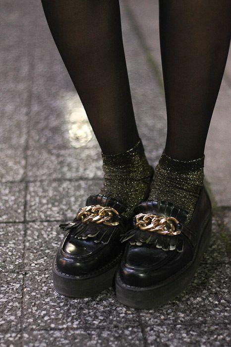 chaussettes à paillettes lurex